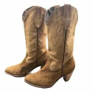 CAPEZIO tan leather and suede heeled  boot sz 9